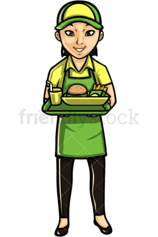 Asian female waitress. PNG - JPG and vector EPS file formats (infinitely scalable). Image isolated on transparent background.