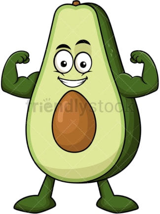 Avocado cartoon character flexing muscles. PNG - JPG and vector EPS (infinitely scalable). Image isolated on transparent background.