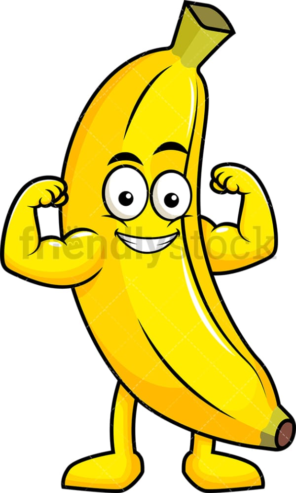 Banana cartoon character flexing muscles. PNG - JPG and vector EPS (infinitely scalable). Image isolated on transparent background.