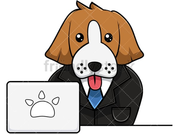 Beagle dog working on laptop. PNG - JPG and vector EPS (infinitely scalable). Image isolated on transparent background.