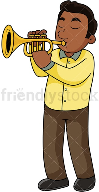 Black guy playing the trumpet. PNG - JPG and vector EPS file formats (infinitely scalable). Image isolated on transparent background.