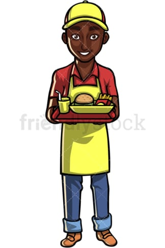 African American waiter. PNG - JPG and vector EPS file formats (infinitely scalable). Image isolated on transparent background.