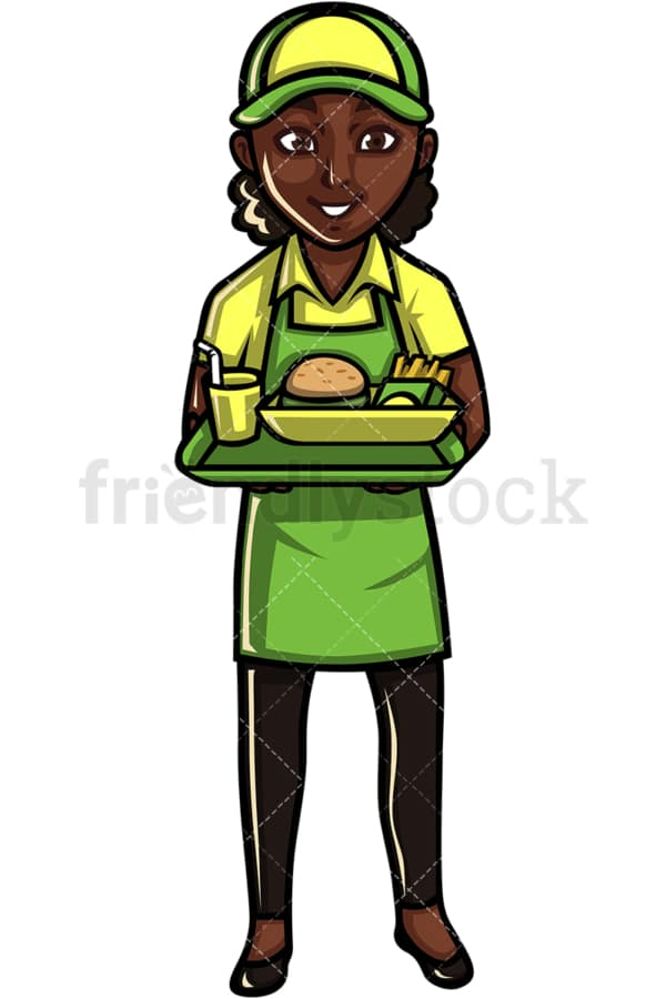 African American waitress. PNG - JPG and vector EPS file formats (infinitely scalable). Image isolated on transparent background.