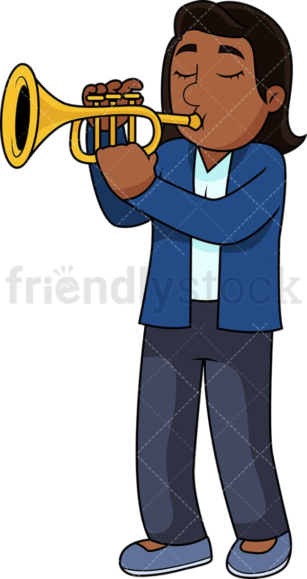 Black woman playing the trumpet. PNG - JPG and vector EPS file formats (infinitely scalable). Image isolated on transparent background.