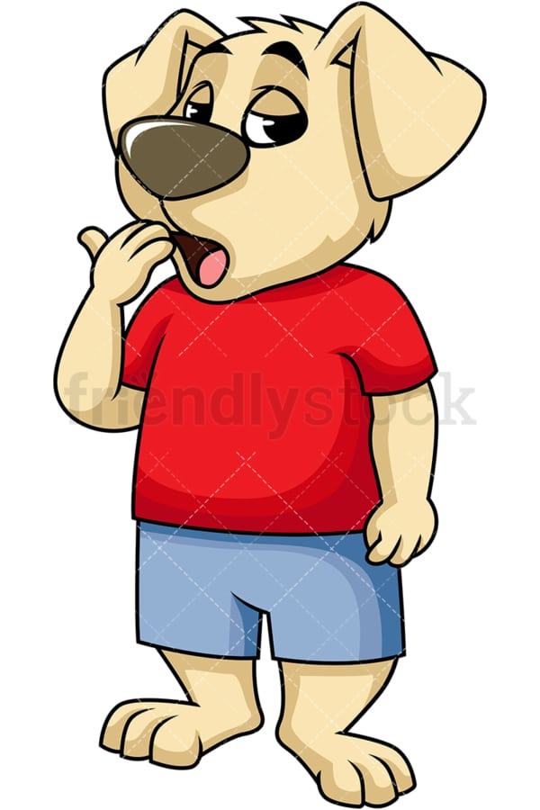 Bored dog mascot yawning. PNG - JPG and vector EPS (infinitely scalable). Image isolated on transparent background.