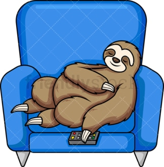 Bored sloth watching tv. PNG - JPG and vector EPS (infinitely scalable). Image isolated on transparent background.