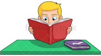 Boy reading book studying hard. PNG - JPG and vector EPS (infinitely scalable). Image isolated on transparent background.