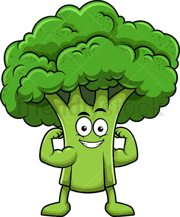 Broccoli cartoon character flexing muscles. PNG - JPG and vector EPS (infinitely scalable). Image isolated on transparent background.