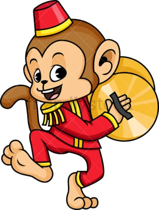 Circus monkey with cymbals. PNG - JPG and vector EPS (infinitely scalable). Image isolated on transparent background.