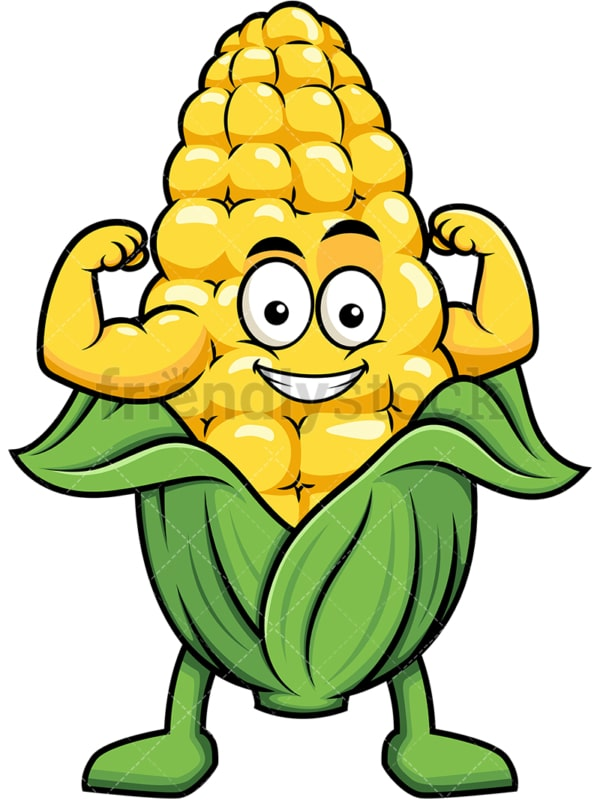 Maize cartoon character flexing muscles. PNG - JPG and vector EPS (infinitely scalable). Image isolated on transparent background.