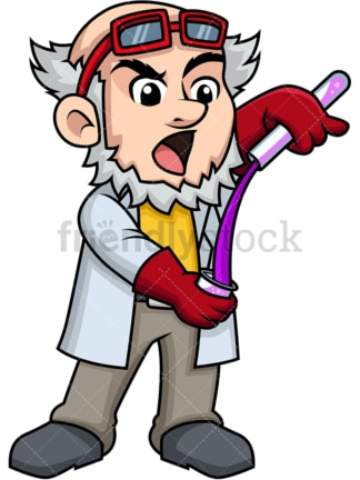 Mad scientist mixing chemicals. PNG - JPG and vector EPS (infinitely scalable). Image isolated on transparent background.