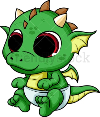 Cute baby dragon. PNG - JPG and vector EPS (infinitely scalable). Image isolated on transparent background.