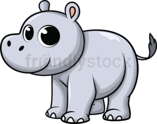 Adorable baby hippo. PNG - JPG and vector EPS (infinitely scalable). Image isolated on transparent background.