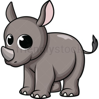 Adorable baby rhino. PNG - JPG and vector EPS (infinitely scalable). Image isolated on transparent background.