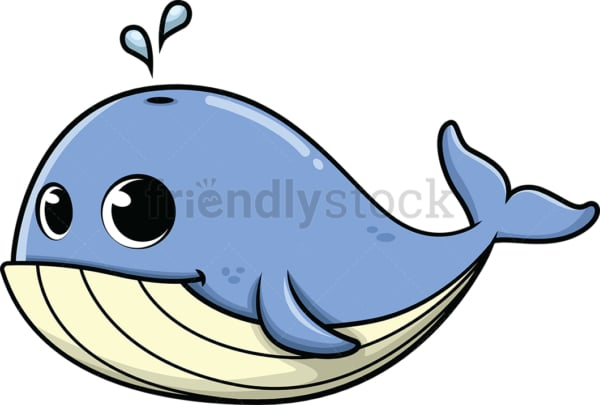 Adorable little whale. PNG - JPG and vector EPS (infinitely scalable). Image isolated on transparent background.
