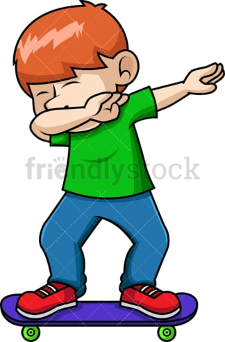 Skateboarding kid doing the dab. PNG - JPG and vector EPS file formats (infinitely scalable). Image isolated on transparent background.