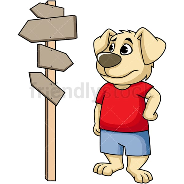Dog cartoon character at crossroads. PNG - JPG and vector EPS (infinitely scalable). Image isolated on transparent background.
