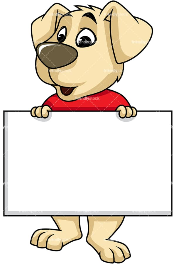 Dog cartoon character holding sales sign. PNG - JPG and vector EPS (infinitely scalable). Image isolated on transparent background.