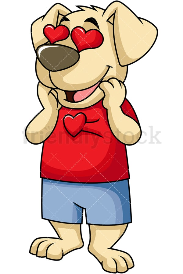 Dog cartoon character in love. PNG - JPG and vector EPS (infinitely scalable). Image isolated on transparent background.