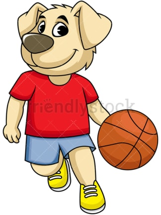 Dog cartoon character playing basketball. PNG - JPG and vector EPS (infinitely scalable). Image isolated on transparent background.