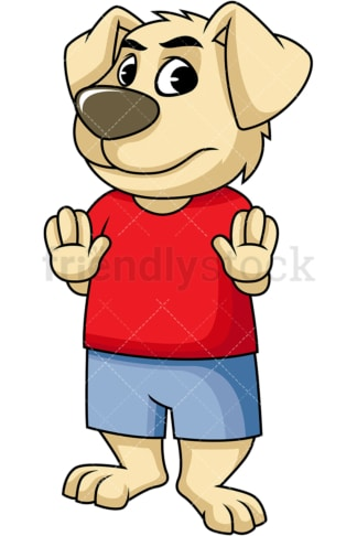 Dog cartoon character stop gesture. PNG - JPG and vector EPS (infinitely scalable). Image isolated on transparent background.