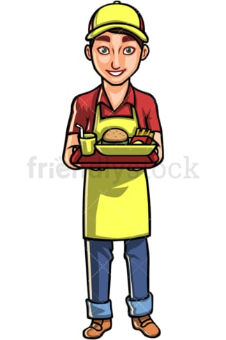 Male waiter serving food. PNG - JPG and vector EPS file formats (infinitely scalable). Image isolated on transparent background.