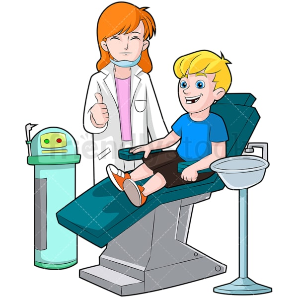 Happy child at the dentist. PNG - JPG and vector EPS (infinitely scalable). Image isolated on transparent background.