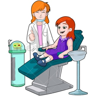 Happy little girl on dentist chair. PNG - JPG and vector EPS (infinitely scalable). Image isolated on transparent background.