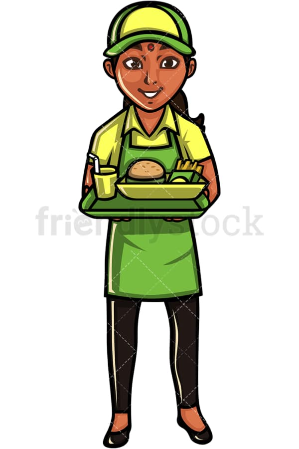 Indian waitress. PNG - JPG and vector EPS file formats (infinitely scalable). Image isolated on transparent background.