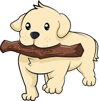Labrador puppy playing fetch. PNG - JPG and vector EPS (infinitely scalable). Image isolated on transparent background.