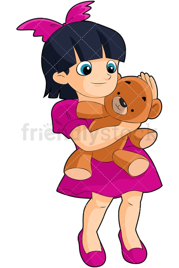 Little girl hugging teddy bear. PNG - JPG and vector EPS (infinitely scalable). Image isolated on transparent background.