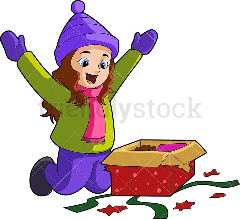 Little Girl Opening Christmas Gift Cartoon Vector Clipart ...