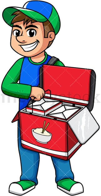 Guy delivering chinese food. PNG - JPG and vector EPS (infinitely scalable). Image isolated on transparent background.