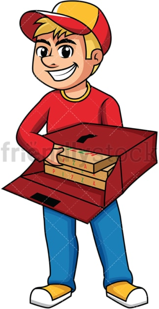 Guy delivering pizza boxes. PNG - JPG and vector EPS (infinitely scalable). Image isolated on transparent background.