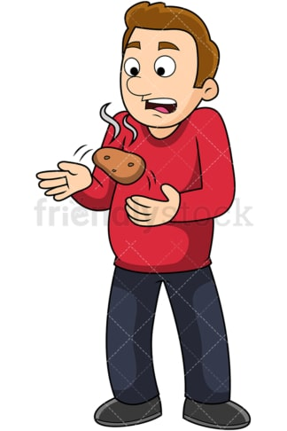 Man holding hot potato. PNG - JPG and vector EPS file formats (infinitely scalable). Image isolated on transparent background.