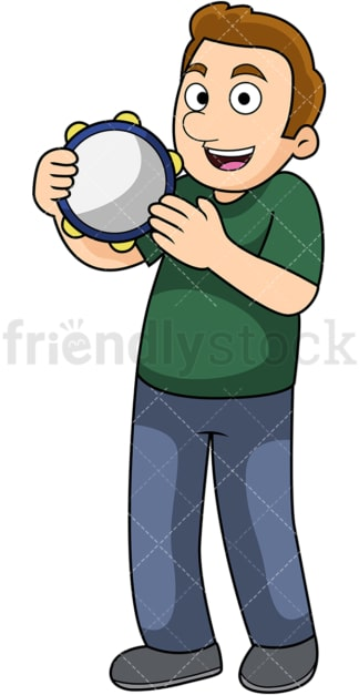 Man playing the tambourine. PNG - JPG and vector EPS file formats (infinitely scalable). Image isolated on transparent background.
