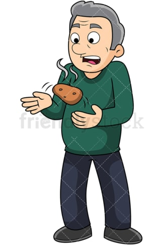 Old man hOlding a hot potato. PNG - JPG and vector EPS file formats (infinitely scalable). Image isolated on transparent background.