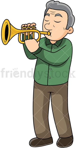 Old man playing the trumpet. PNG - JPG and vector EPS file formats (infinitely scalable). Image isolated on transparent background.