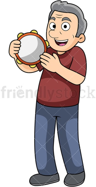 Old man tambourine player. PNG - JPG and vector EPS file formats (infinitely scalable). Image isolated on transparent background.