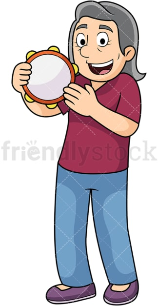 Old woman playing tambourine. PNG - JPG and vector EPS file formats (infinitely scalable). Image isolated on transparent background.
