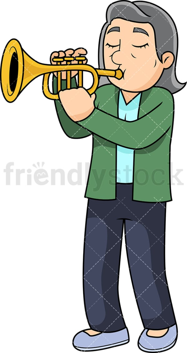 Old woman playing the trumpet. PNG - JPG and vector EPS file formats (infinitely scalable). Image isolated on transparent background.