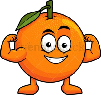 Orange cartoon character flexing muscles. PNG - JPG and vector EPS (infinitely scalable). Image isolated on transparent background.