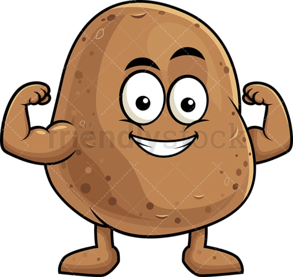 Potato cartoon character flexing muscles. PNG - JPG and vector EPS (infinitely scalable). Image isolated on transparent background.