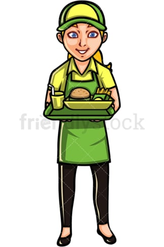 Waitress holding tray. PNG - JPG and vector EPS file formats (infinitely scalable). Image isolated on transparent background.