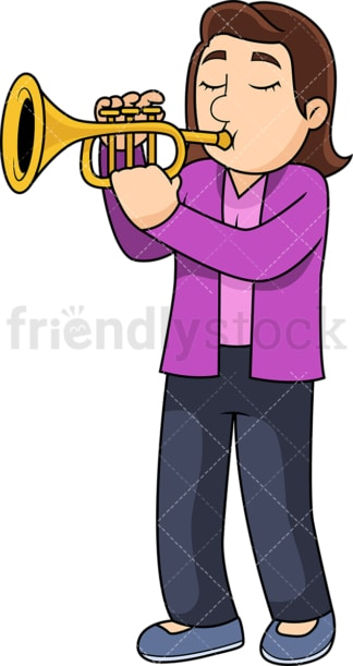 Woman playing the trumpet. PNG - JPG and vector EPS file formats (infinitely scalable). Image isolated on transparent background.
