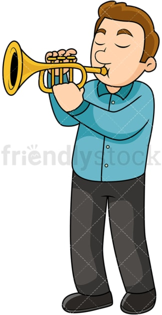 Man playing the trumpet. PNG - JPG and vector EPS file formats (infinitely scalable). Image isolated on transparent background.