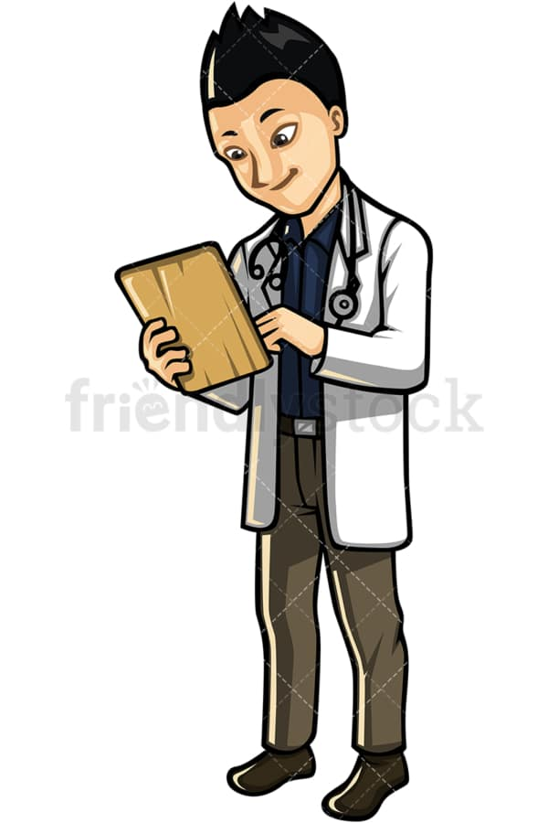 Asian male doctor. PNG - JPG and vector EPS file formats (infinitely scalable). Image isolated on transparent background.