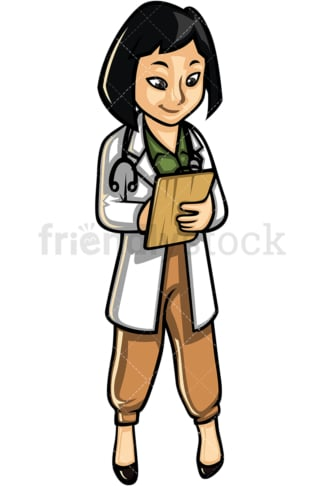 Asian female medical professional. PNG - JPG and vector EPS file formats (infinitely scalable). Image isolated on transparent background.