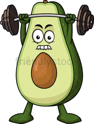 Avocado cartoon character lifting weights. PNG - JPG and vector EPS (infinitely scalable). Image isolated on transparent background.