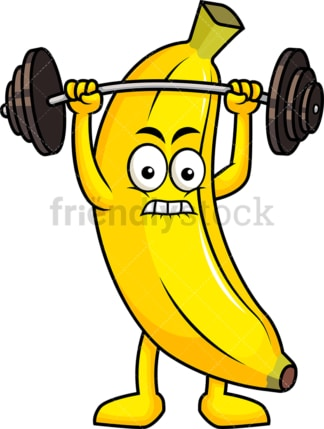 Banana cartoon character lifting weights. PNG - JPG and vector EPS (infinitely scalable). Image isolated on transparent background.